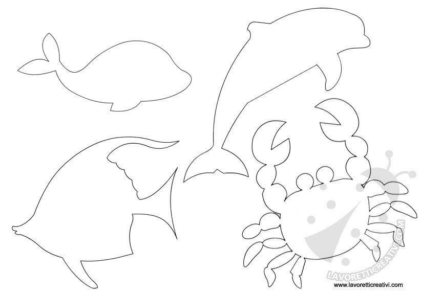 Sagome mare da ritagliare lavoretti creativi for Disegni pesci da ritagliare