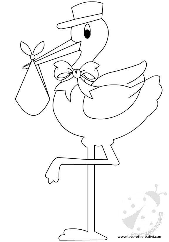 Sagome cicogna annuncio nascita bambino lavoretti creativi - Immagini di cicogne che portano bambini ...