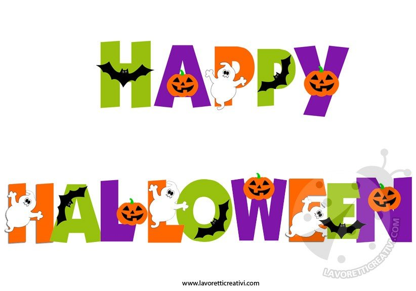 Festone happy halloween da stampare lavoretti creativi for Decorazioni halloween da appendere