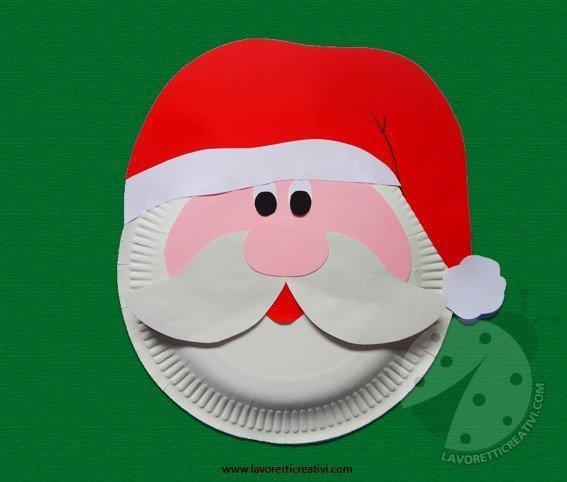 Lavoretti Di Natale Con Piatti Di Plastica.Addobbi Natale Babbo Natale Con Piatto Di Carta