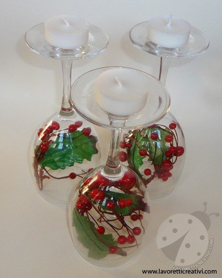 Centrotavola Natalizi Lavoretti.Centrotavola Di Natale Con I Bicchieri Lavoretti Creativi