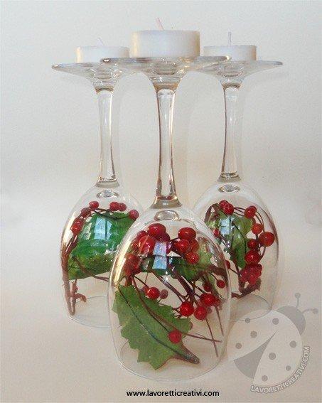 Centrotavola di natale con i bicchieri lavoretti creativi - Bicchieri decorati per natale ...