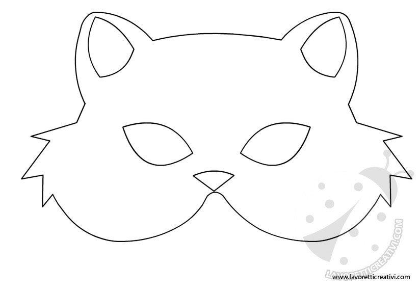 Gatto maschera da ritagliare lavoretti creativi - Pagina colorazione maschera gatto ...