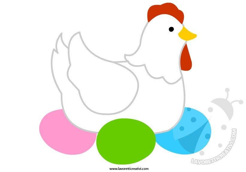 Sagome Pasqua Gallina con uova