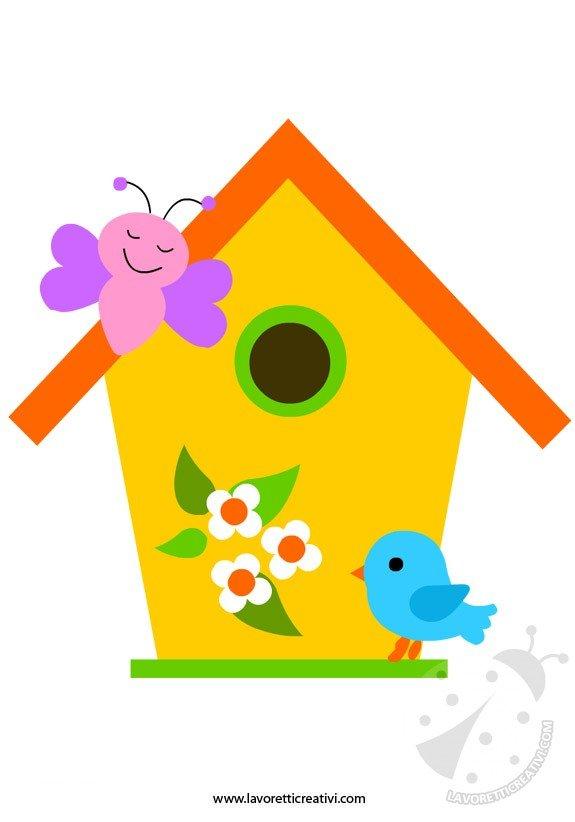 Sagome primavera casetta uccelli lavoretti creativi - Primavera uccelli primavera colorazione pagine ...
