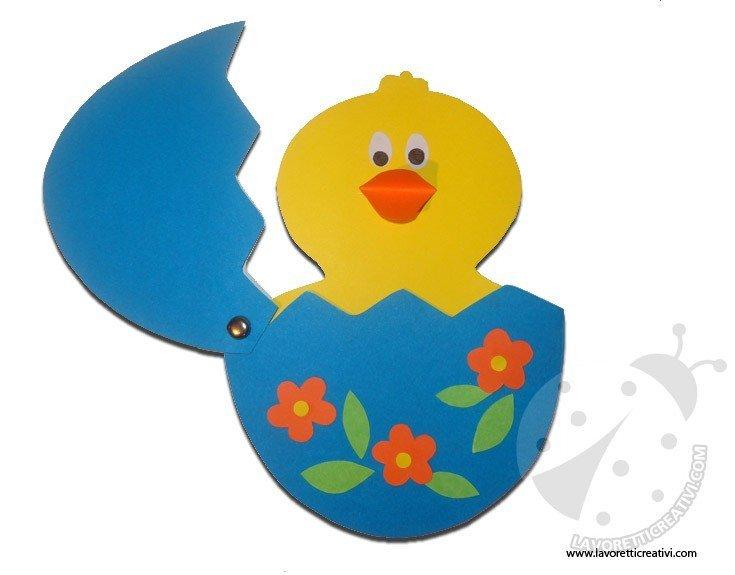 Lavoretto Pasqua - Pulcino che esce dall'uovo