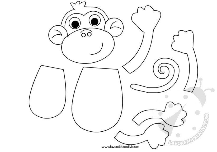 Animali Della Giungla Sagoma Scimmia Lavoretti Creativi