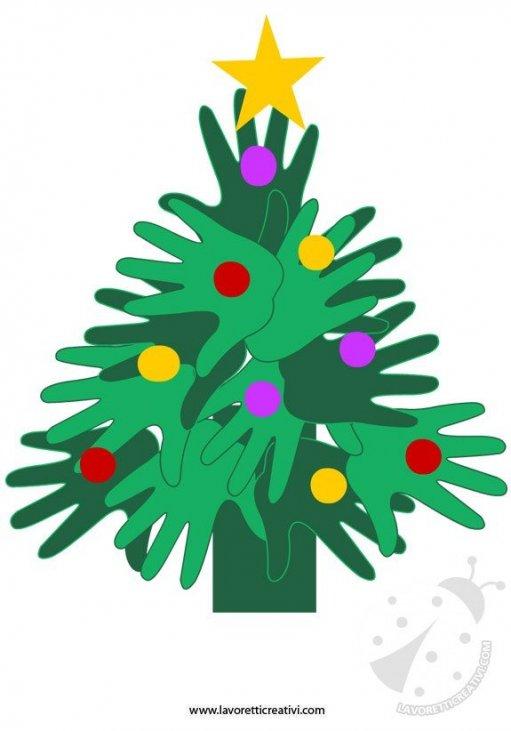 Lavoretti Di Natale Con Le Impronte Delle Mani.Albero Di Natale Lavoretto Con Le Mani Lavoretti Creativi