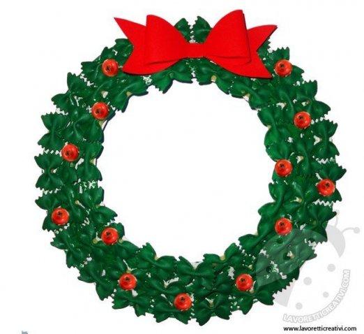 Lavoretti Di Natale Ghirlande Per Bambini.Ghirlanda Di Natale Con La Pasta Lavoretti Creativi
