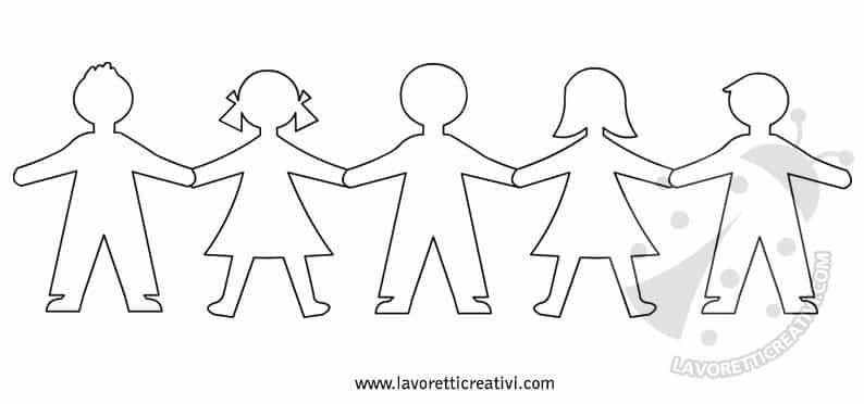 Disegni Da Colorare Di Bambini Che Si Tengono Per Mano.Sagome Bambini Che Si Tengono Per Mano Lavoretti Creativi