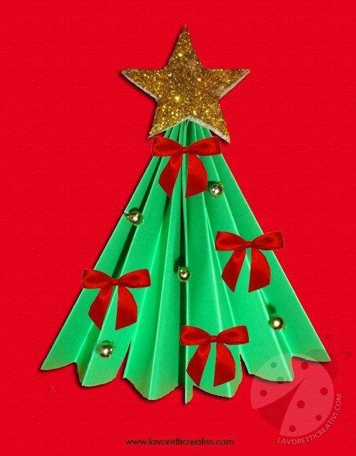 Alberelli Di Natale Lavoretti.Albero Di Natale A Fisarmonica Lavoretti Creativi
