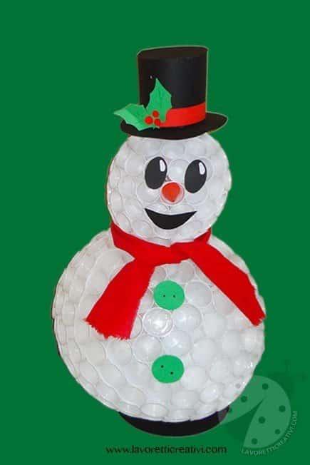 come realizzare un pupazzo di neve con i bicchieri di plastica
