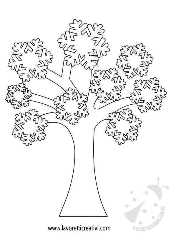 Cartellone inverno albero con fiocchi di neve lavoretti for Foto di alberi da colorare