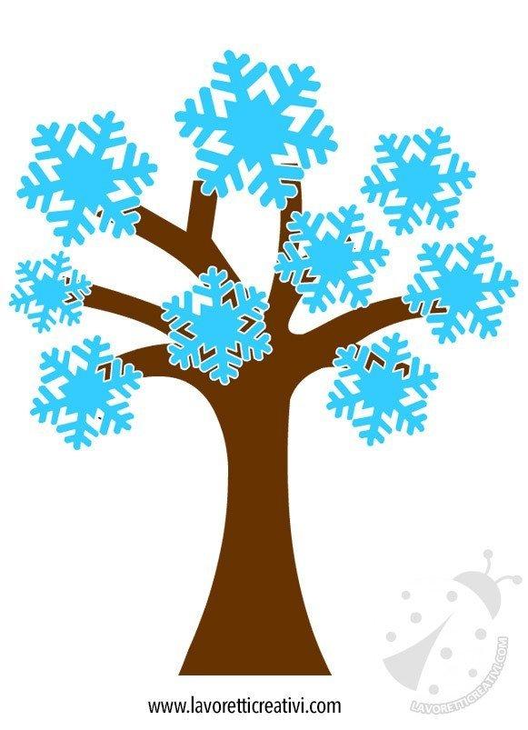 Cartellone Inverno Albero Con Fiocchi Di Neve Lavoretti Creativi