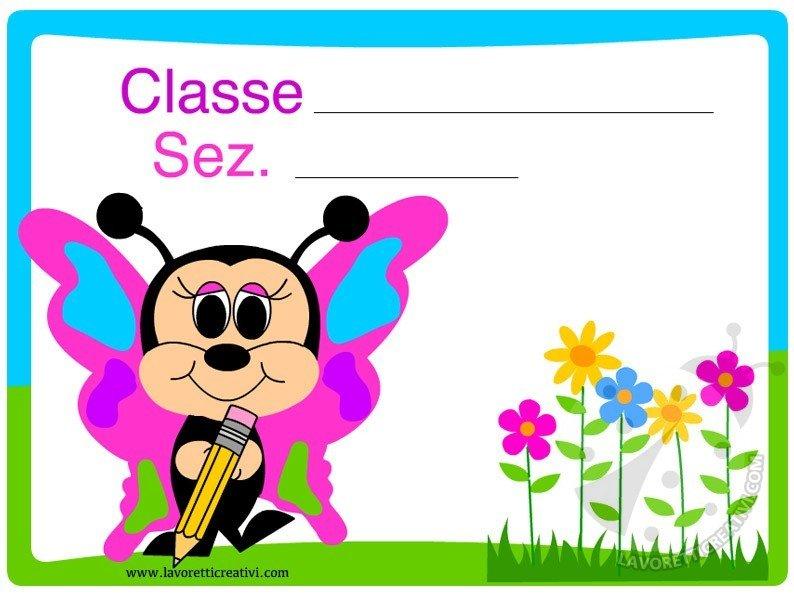 Cartello porta aula farfalla lavoretti creativi for Cartelli porta aula scuola primaria