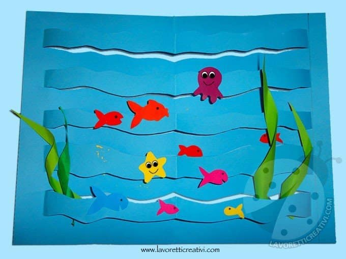 Lavoretti estate con la carta mare con pesci lavoretti for Disegni pesciolino arcobaleno