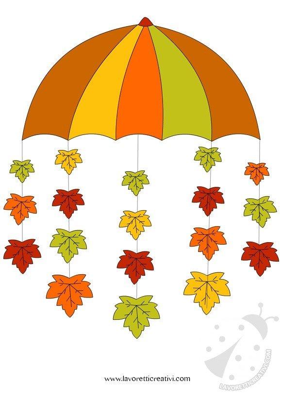 Addobbi autunno ombrello con foglie - Addobbi natalizi per finestre scuola infanzia ...