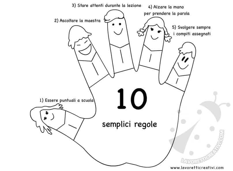 10 regole scolastiche mani lavoretti creativi for Lavoretti creativi accoglienza