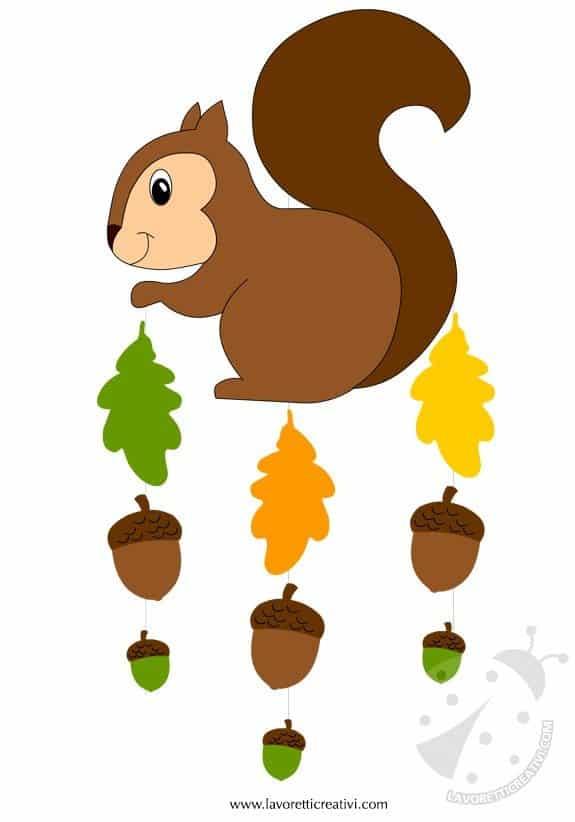 Addobbi autunno scoiattolo con ghiande lavoretti creativi for Addobbi finestre natale scuola infanzia