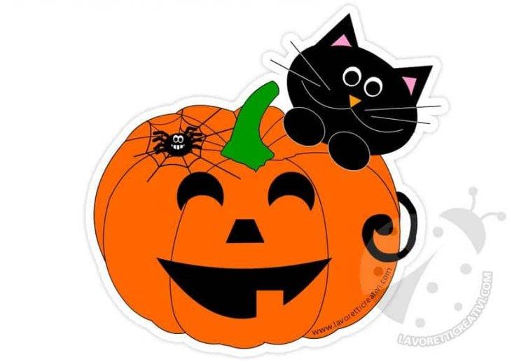 Zucca Halloween Gatto.Addobbi Halloween Zucca Con Gatto Nero Lavoretti Creativi