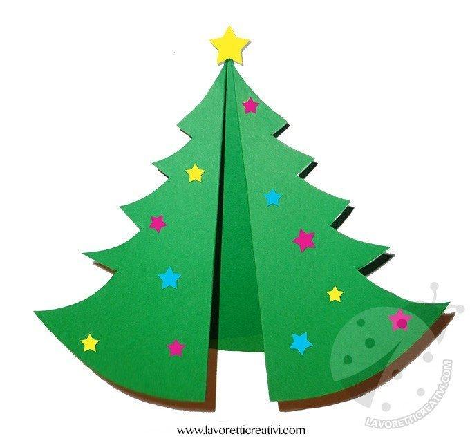 Lavoretti Biglietti Di Natale.Biglietto Con Albero Di Natale Pieghevole Lavoretti Creativi