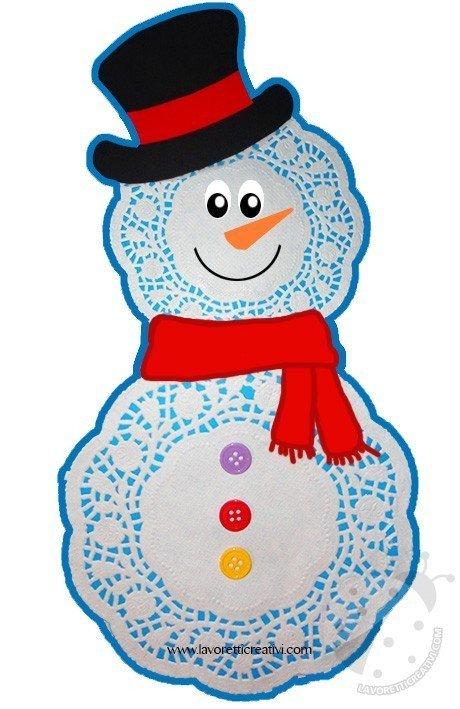 Pupazzo di neve con centrini di carta lavoretti creativi for Addobbi finestre natale scuola infanzia