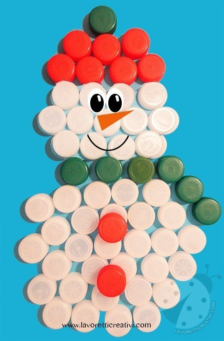 Pupazzo Di Neve Con Tappi Di Plastica Lavoretti Creativi