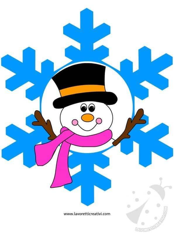 Addobbi invernali fiocchi di neve con disegni lavoretti for Addobbi di natale per bambini scuola infanzia