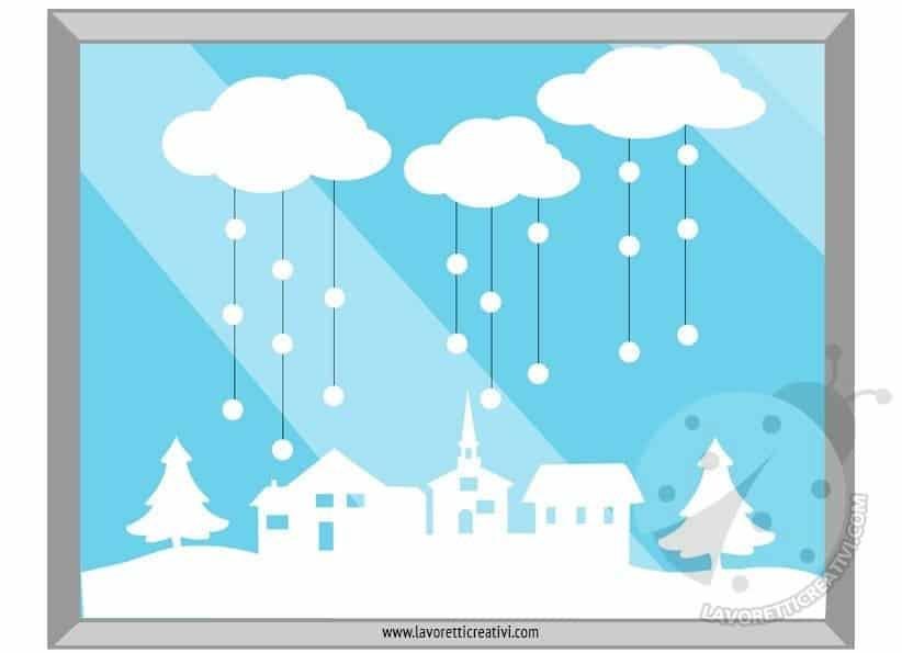 Decorazioni invernali per finestra con paesaggio - Addobbi natalizi per finestre scuola infanzia ...
