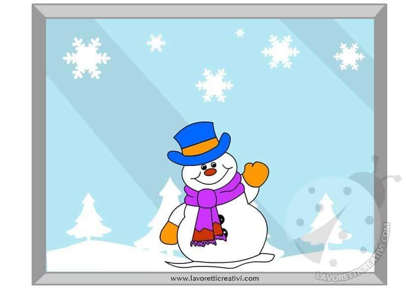 Decorazione invernale per finestra con pupazzo di neve - Addobbi finestra natale ...