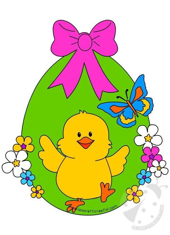 Decorazioni di pasqua uovo di pasqua con pulcino lavoretti creativi - Decorazioni uova pasquali per bambini ...