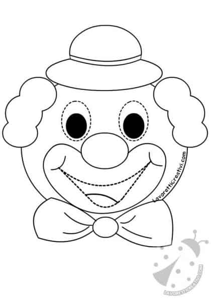 Maschera di pagliaccio da ritagliare lavoretti creativi for Pagliaccio da colorare