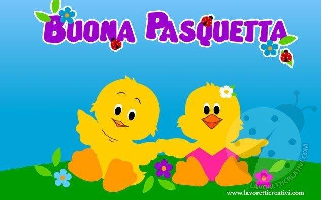 Cartoline Buona Pasquetta con pulcini