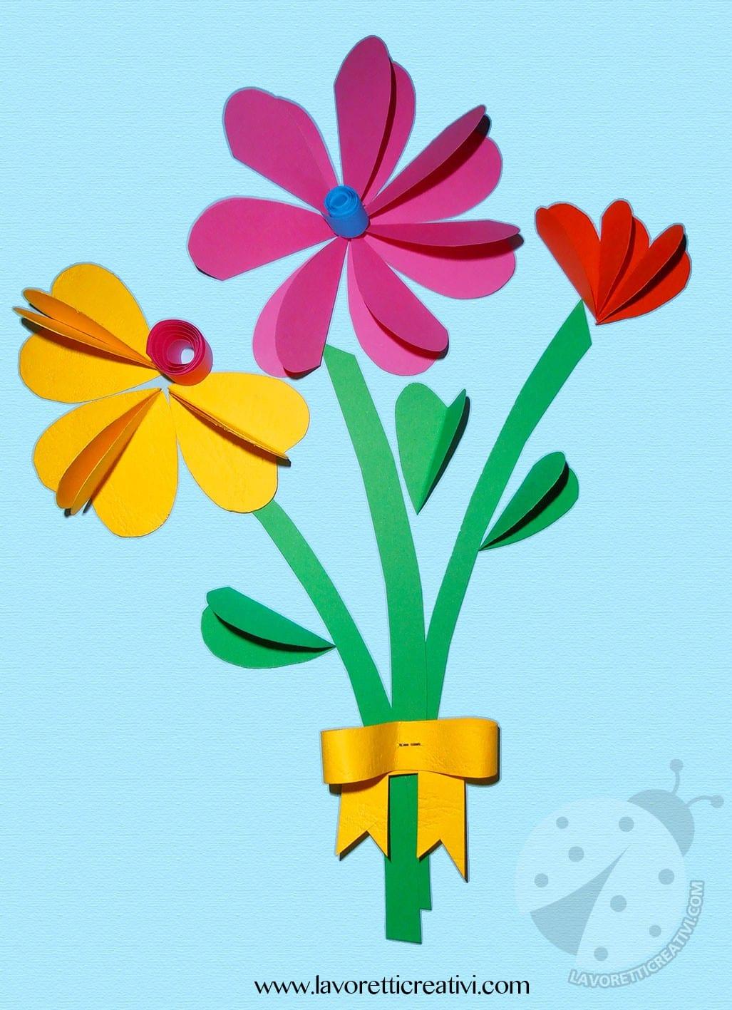Bouquet di fiori con cuori lavoretti creativi for Disegni da colorare con cuori