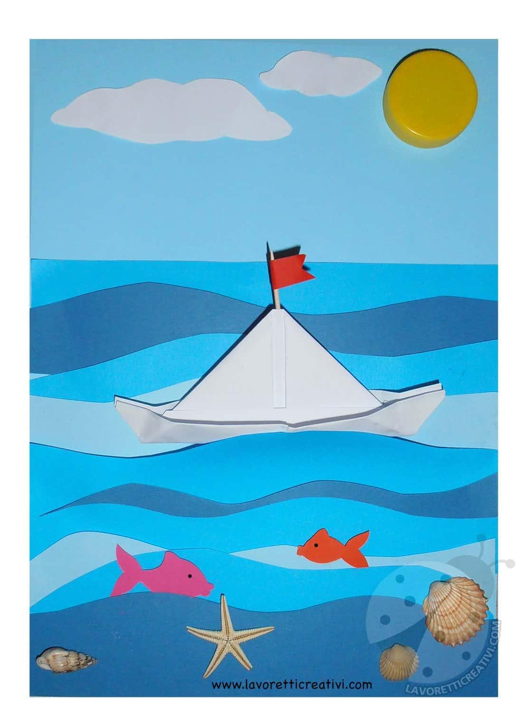 Paesaggio marino con barca di carta lavoretti creativi for Pesciolini da colorare e stampare