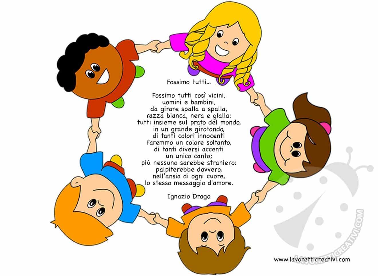 Filastrocche per l 39 accoglienza dei bambini lavoretti creativi for Lavoretti creativi accoglienza
