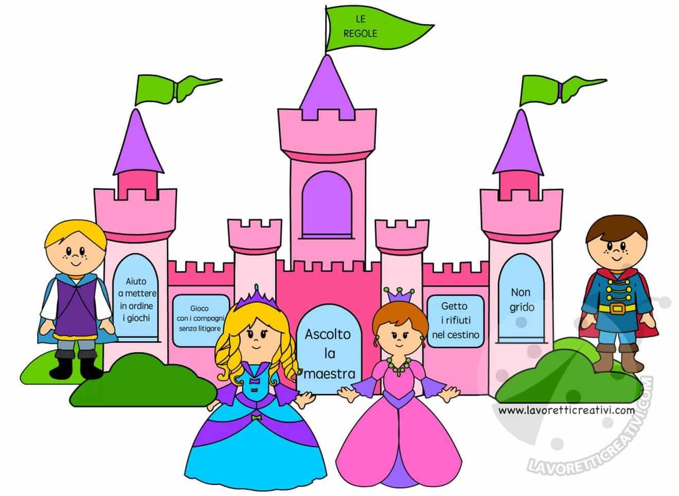 Idee cartellone regole classe castello lavoretti creativi for Cartelloni scuola infanzia