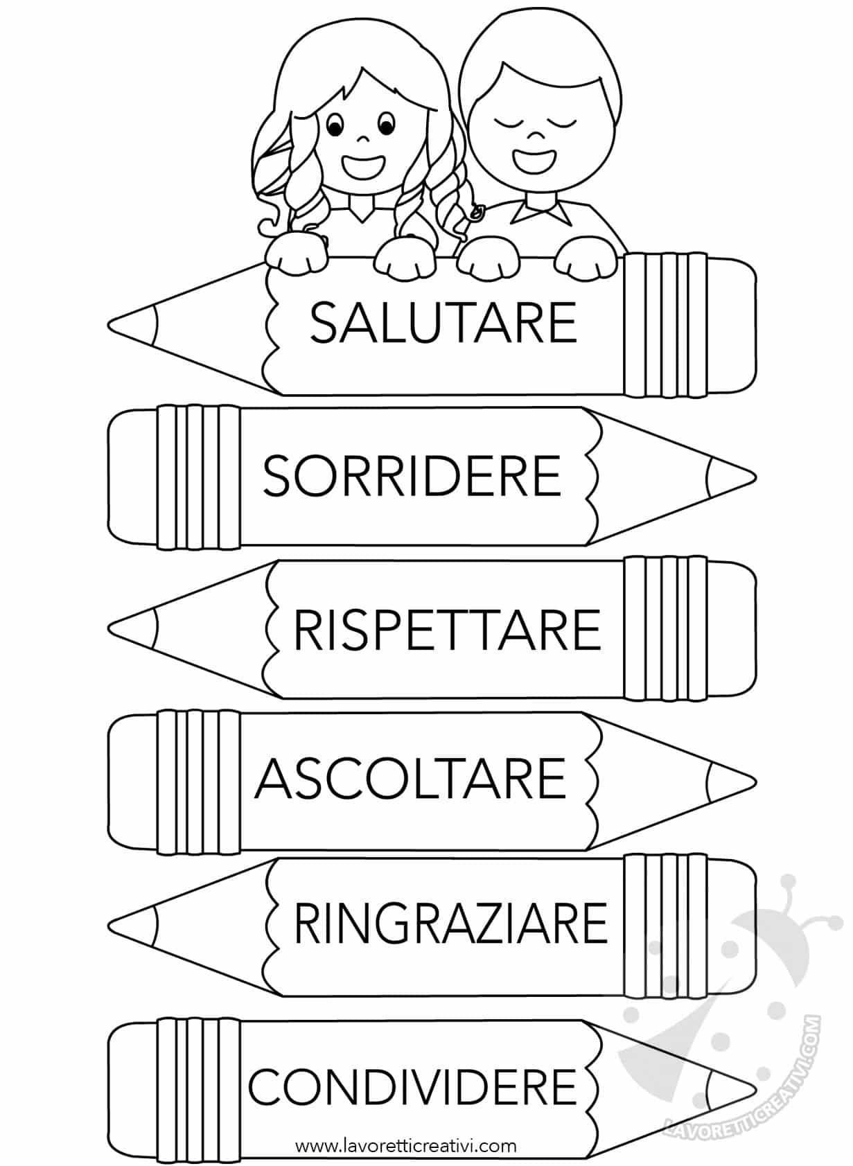 Cartello con regole di comportamento lavoretti creativi for Colorare le rose