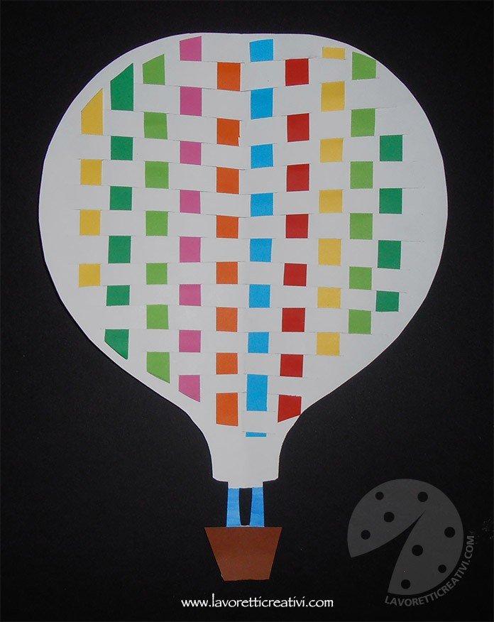 Mongolfiera con strisce di carta colorata per addobbi aula
