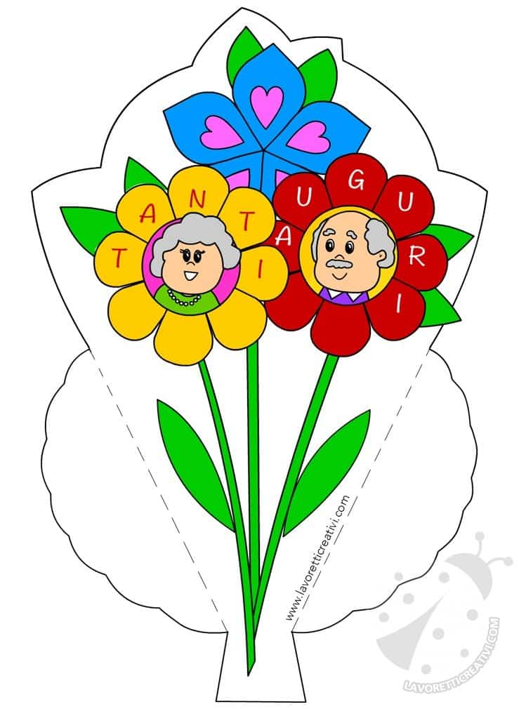 Biglietti di auguri per la Festa dei nonni con fiori