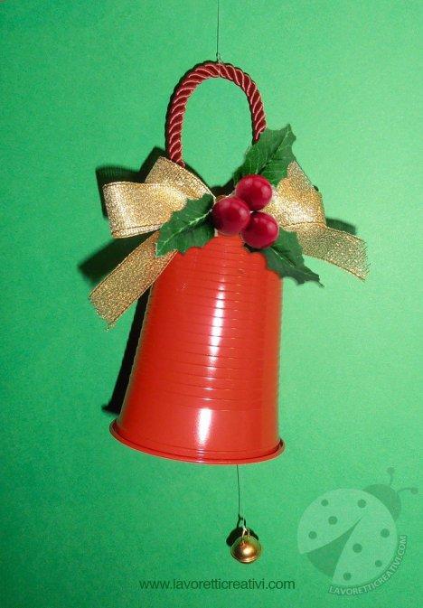 Lavoretti Con Bicchieri Di Plastica Per Natale.Campana Di Natale Con Bicchiere Di Plastica Lavoretti Creativi