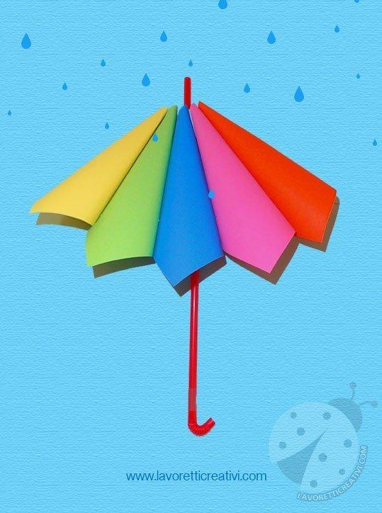 Ombrello con coni di carta colorata for Addobbi autunno scuola infanzia