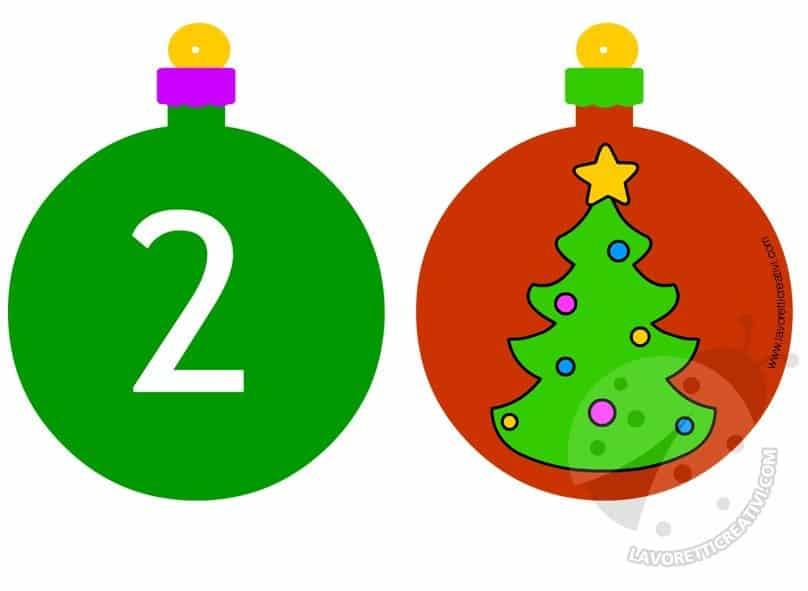 Calendario dell'avvento con palline 1 e 2