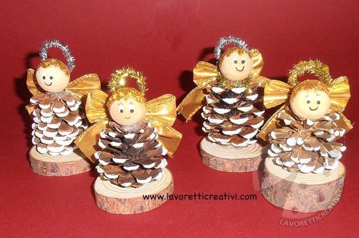 Angeli Lavoretti Di Natale.Angelo Di Natale Con Pigna Lavoretti Creativi