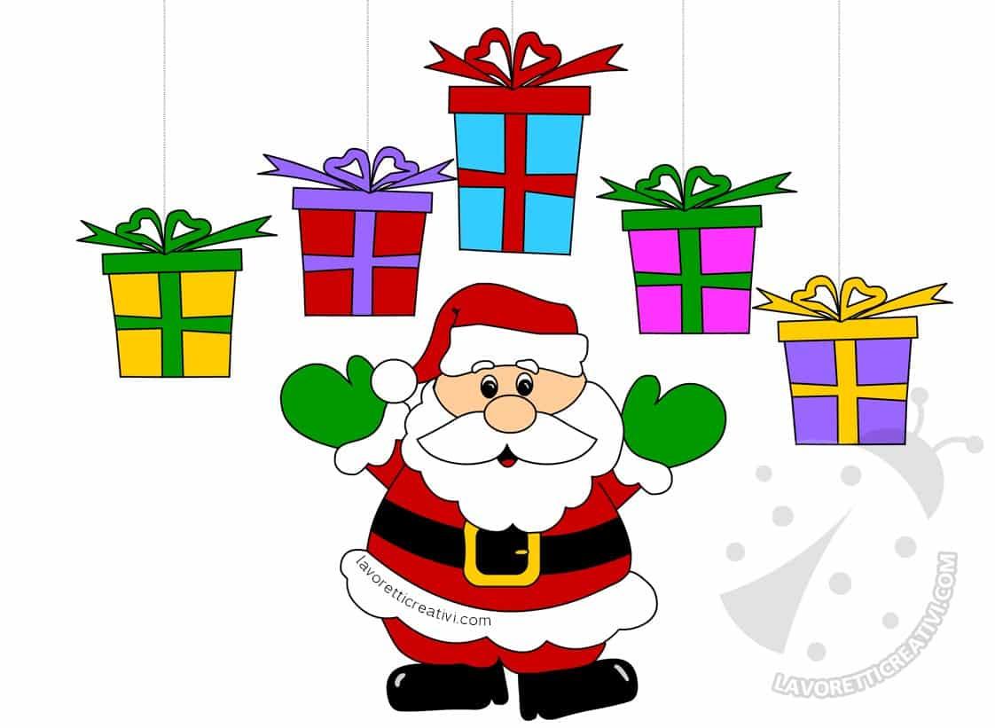 Addobbi Natalizi con Babbo Natale e pacchi regalo