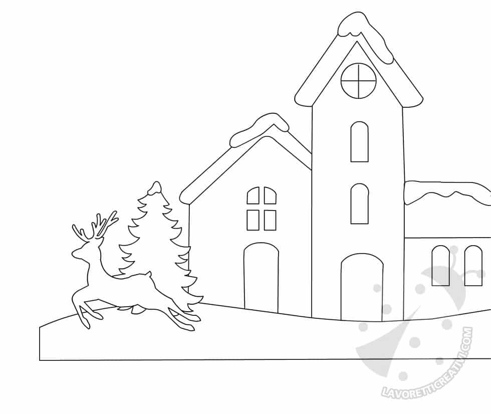 Idee cartellone disegno paesaggio invernale lavoretti for Paesaggio invernale da colorare