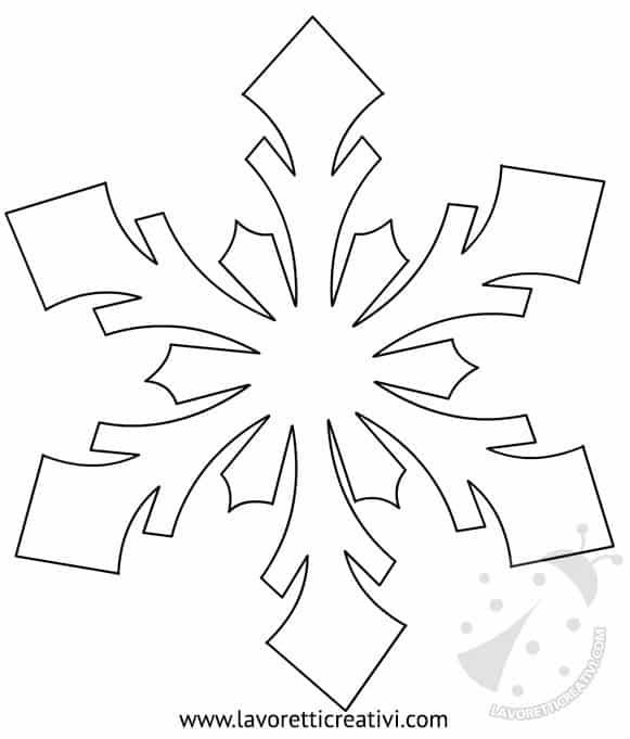 Modelli fiocchi di neve da ritagliare lavoretti creativi - Fiocco di neve da colorare foglio da colorare ...