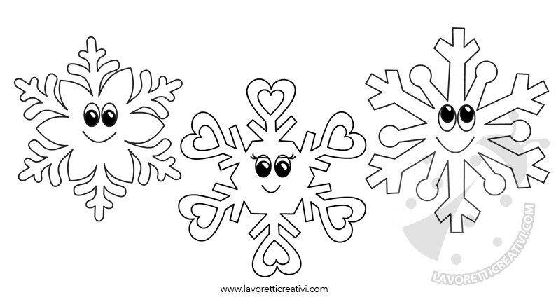 Disegni Inverno per bambini - Fiocchi di neve da colorare