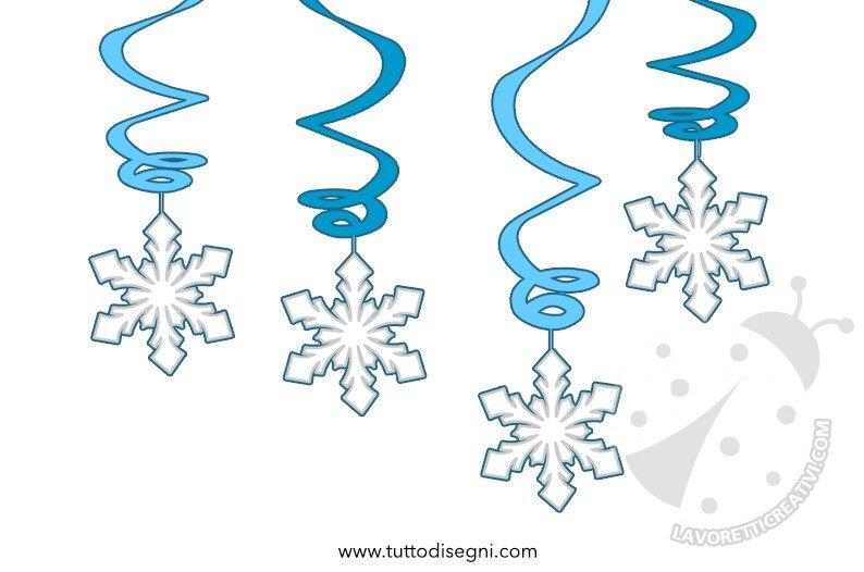 Decorazioni a spirale con fiocchi di neve lavoretti creativi - Decorazioni finestre aula ...