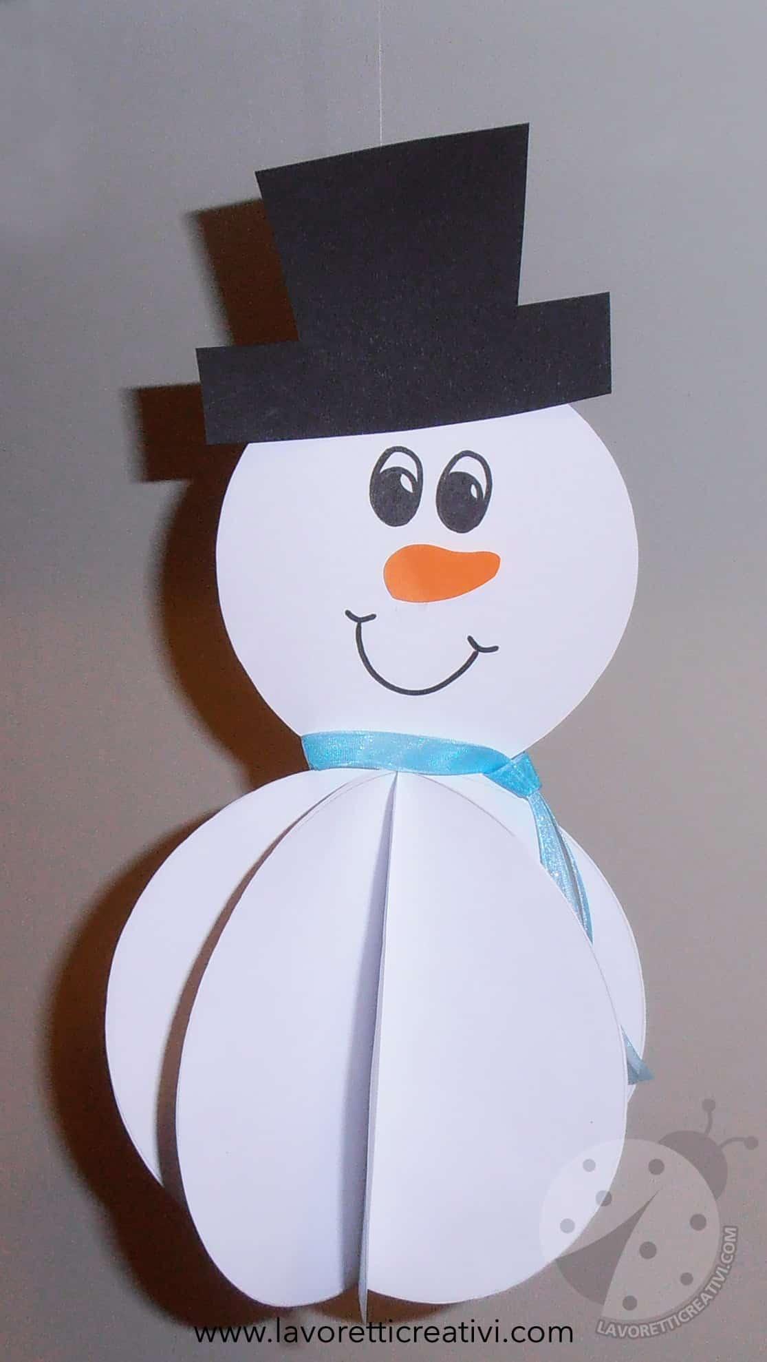 Addobbi inverno pupazzo di neve 3d lavoretti creativi for Addobbi di natale per bambini scuola infanzia